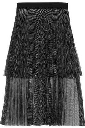 Christopher Kane Layered Pleated Metallic Tulle Midi Skirt