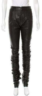 Gianfranco Ferre Mid-Rise Leather Pants
