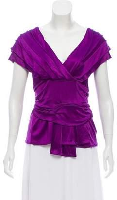 Christian Dior Gathered Short Sleeve Top