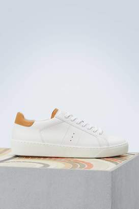 J.M. Weston White and camel smooth calfskin sneakers