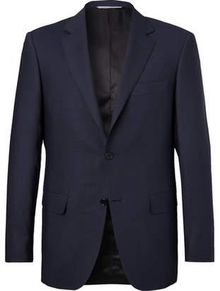 Canali Blue Travel Mélange Wool-Hopsack Blazer