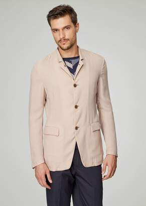 Giorgio Armani Regular-Fit Single-Breasted Jacket In Washed Cupro Natte