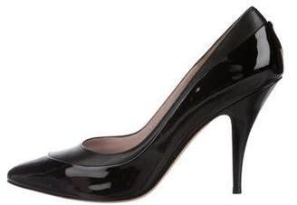 Salvatore Ferragamo Patent Leather Peep-Toe Pumps