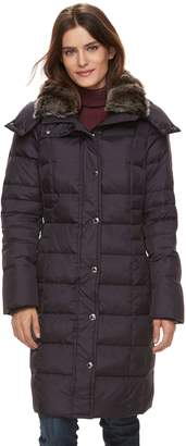 London Fog Tower By Women's TOWER by Long Faux-Fur Trim Down Puffer Jacket