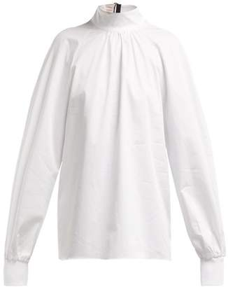 db0dc85b237fb Tibi High Neck Cotton Poplin Blouse - Womens - White