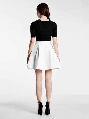Halston Knit / Silk Faille Combo Dress
