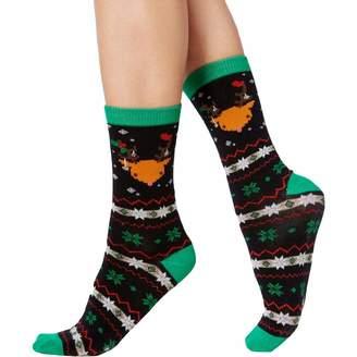 Charter Club Womens Reindeer Holiday Christmas Crew Socks