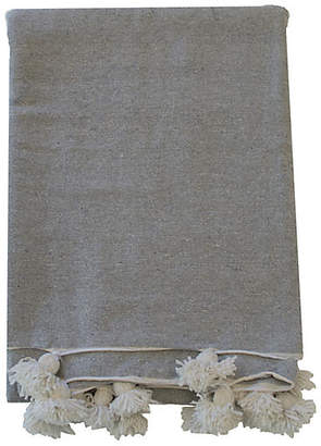 One Kings Lane Moroccan Pom-Pom Blanket - Gray/White