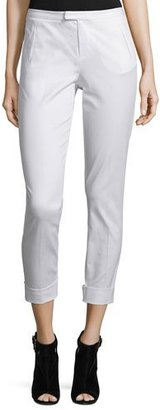 ATM Anthony Thomas Melillo Stretch Twill Cropped Slim-Fit Pants, White $295 thestylecure.com
