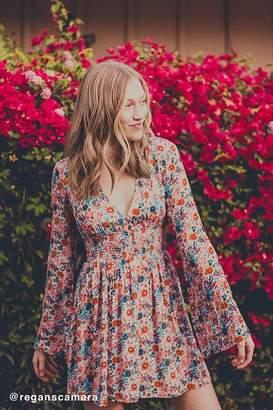Urban Outfitters Elise Smocked-Waist Mini Dress