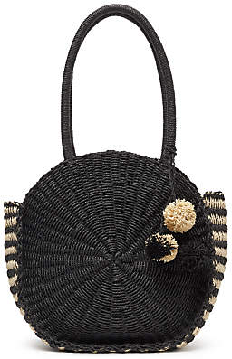 John Lewis Straw Circle Grab Bag, Black/Cream