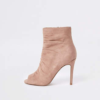 River Island Light pink faux suede open toe shoe boot