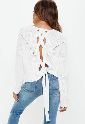 Missguided Lace Up Back Chunky Knitted Jumper