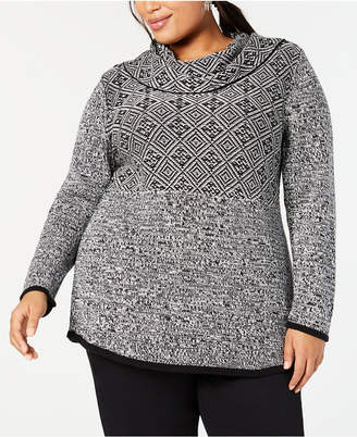 Style&Co. Style & Co Plus Size Mixed-Pattern Tunic Top, Created for Macy's