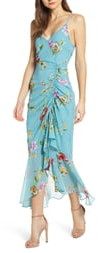 ASTR the Label Floral Ruched Front Maxi Dress