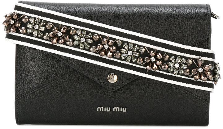 Miu MiuMiu Miu embellished strap envelope bag