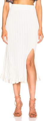 Chloé Ruffle Midi Skirt in Dusty White | FWRD