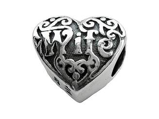 Zable tm) Sterling Silver Wife Heart Pandora Compatible Bead / Charm
