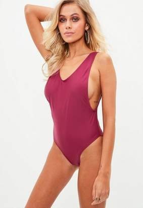 Missguided Red Low Side High Rise Swimsuit
