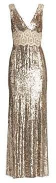 Jenny Packham Women's Loretta Beaded Lace Applique Gown - Ecru - Size UK 8 (4)