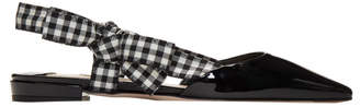 Miu Miu Black Patent Vichy Ribbon Ballerina Flats