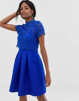 Little Mistress short sleeve mini high neck skater dress with lace upper