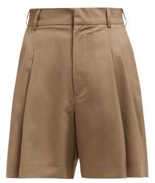 Edward Crutchley Wide Leg Tailored Wool Shorts - Womens - Beige