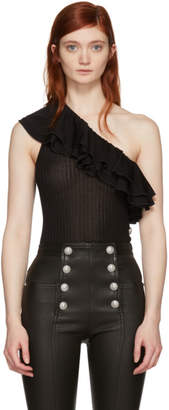Balmain Black Ruffle One-Shoulder Tank Top