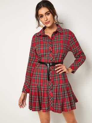 Shein Tartan Print Belted Flounce Hem Shirt Dress