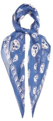 Alexander McQueen Skull Print Silk Chiffon Scarf - Womens - Blue
