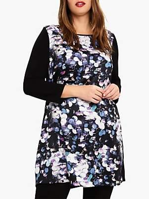 Dahlia Graphic Tunic Dress, Black/Multi