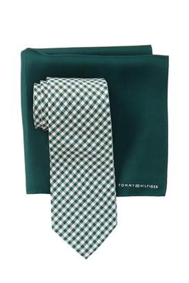 Tommy Hilfiger Silk Micro Gingham Tie & Solid Pocket Square Set