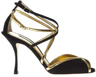 Dolce & Gabbana Keira Black Suede And Gold Leather Sandals