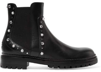 Jimmy Choo Burrow Embellished Leather Ankle Boots - Black