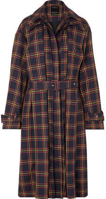 Rokh Tartan Twill Trench Coat - Navy