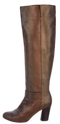Chanel Metallic Suede CC Knee-High Boots Gold Metallic Suede CC Knee-High Boots