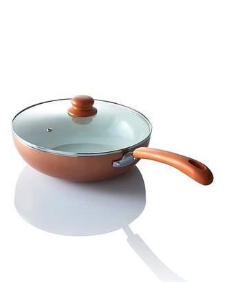 Fashion World Ceramic 28cm Wok with Lid Copper