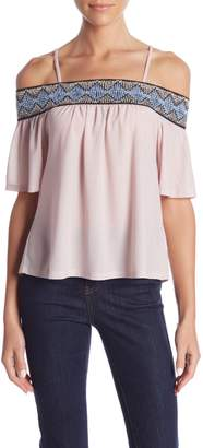 Romeo & Juliet Couture Cold Shoulder Embroidered Blouse