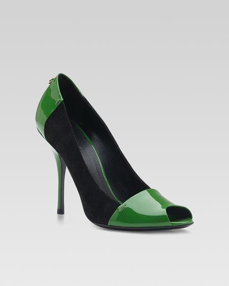 Gucci Bacall High-Heel Sandal, Green/Black