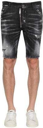 DSQUARED2 21cm Cotton Denim Shorts W/ Zip