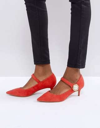 Carvela Argonite Red Suede Kitten Heels With Pearl Detail