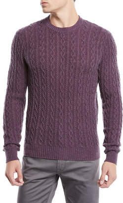 620ba828c4 Neiman Marcus Men s Cashmere Cable-Knit Crewneck Pullover Sweater