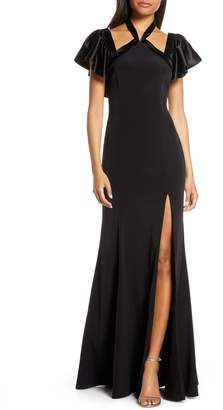 Jill Stuart Crepe Back Satin Halter Neck Evening Gown