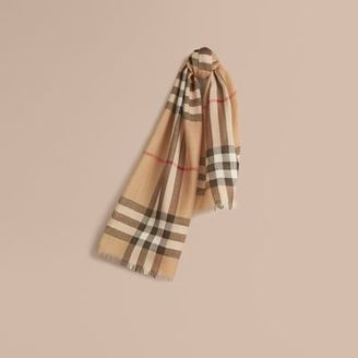 Burberry Exploded Check Wool Silk Scarf $185 thestylecure.com