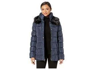 Via Spiga Short Puffer with Faux Fur Collar Women's Coat