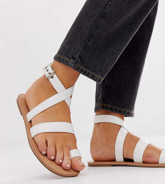 London Rebel wide fit toe loop flat sandals