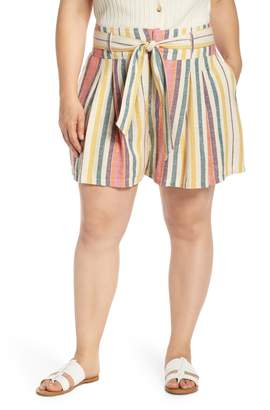 BP Belted Pleated Linen Blend Shorts