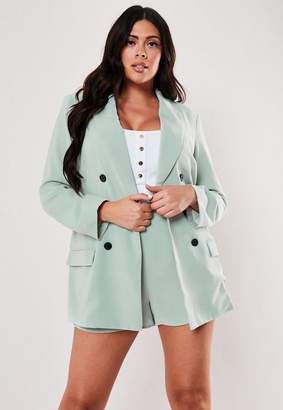 Missguided Plus Size Mint Co Ord Oversized Button Front Blazer