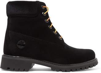 Off-White Timberland Logo-embossed Velvet Ankle Boots - Black