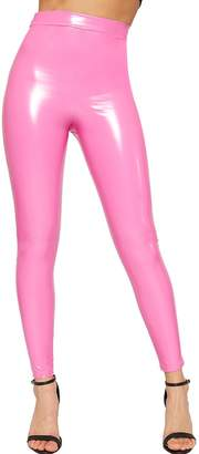 WearAll Womens Wet Look Shiny Vinyl High Waisted Elasticated Jeggings Leggings
